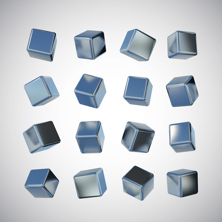 finished: Rendered image for many view of 3D stainless steel cube which have hair line finished Stock Photo
