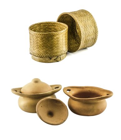 thai food: An isolated image on white background. Thai pottery wihich mad by clay and thai basketwork made from bamboo. ancient food ware