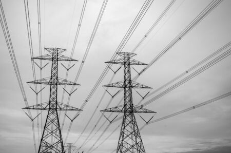 pylon: Black and white image of high voltage electricity pylon