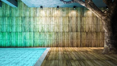 downlight: Illustration 3ds rendered, wooden wall and floor and big tree which have reflection from water in the pool on ceiling
