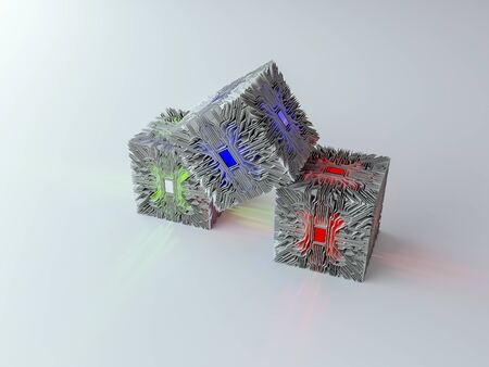 3ds: 3ds renderes of electricity curcuit cube Stock Photo