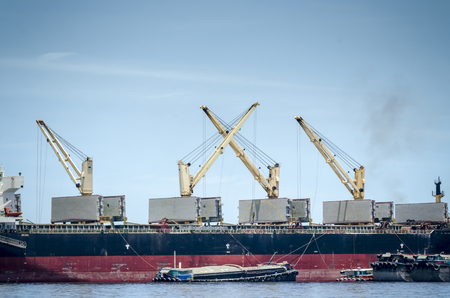 oversea: An image of tower crane place on the oversea transportation boat