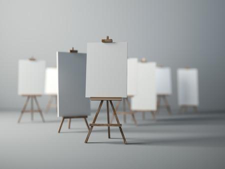 3Ds rindió la imagen de trípode de madera para pintar, enfoque selectivo en el objeto delante Foto de archivo - 43298116