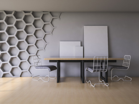 3ds: 3Ds rendered interior with hexagon wall and wooden floor