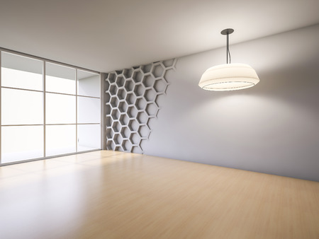 3ds: 3Ds rendered interior with hexagon wall and wooden floor which have light from hanging lamps Stock Photo