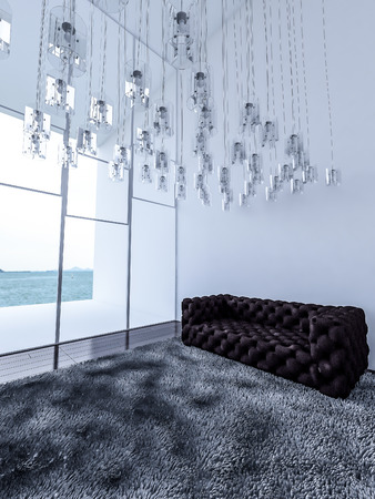 high ceiling: 3ds rendered interior white high ceiling living room which have a lot of lamps haged from ceiling,dark wooden floor,dark gray rug,gary sofa