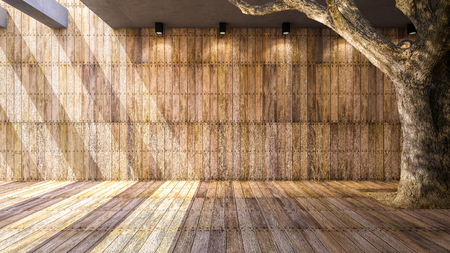 downlight: Illustration 3ds rendered, A big tree and wooden wall and floor
