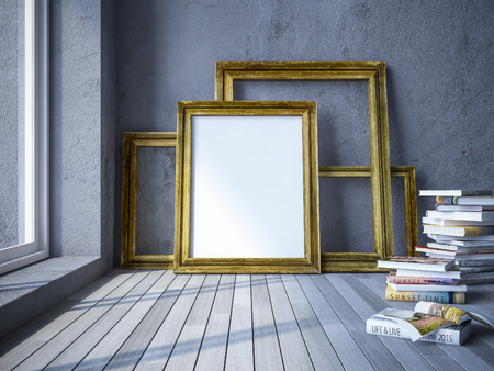 3ds: 3ds rendered image of old wooden photo frame and books, cracked concrete as background, old wooden  floor