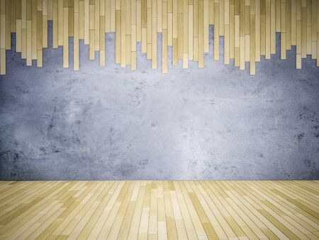 3ds: 3ds rendered image of wooden floor and cracked concrete wall Stock Photo