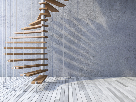 3ds rendered image of wooden spiral staircase hanged from ceiling by stainless cables, shadow on cracked concrete wall and old wooden floor