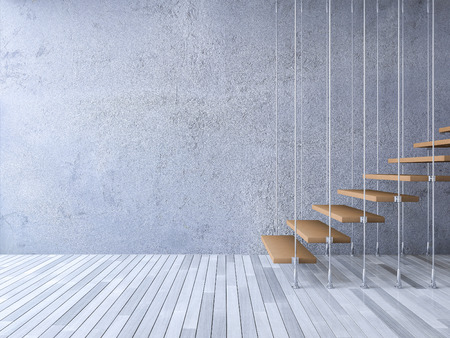 3ds rendered image of wooden staircase hanged from ceiling by stainless cables, cracked concrete wall and old wooden floor