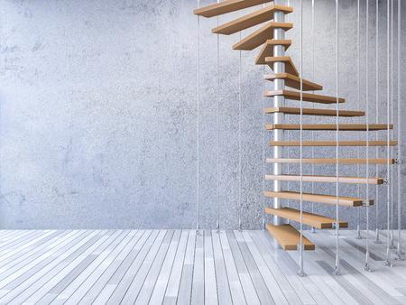 3ds gerenderten Bild der hölzernen Wendeltreppe von der Decke von rostfreiem Kabel gehängt, gebrochene Betonmauer und alten Holzboden