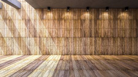 Illustration 3ds rendered, wooden wall and floor 免版税图像