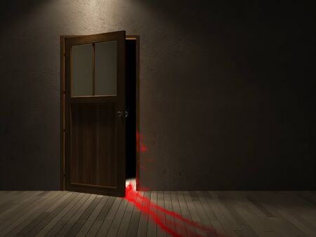 dragging: 3ds rendered image of wooden door and blood was dragging on the wooden floor.cracked concrete wall, Background for halloween day