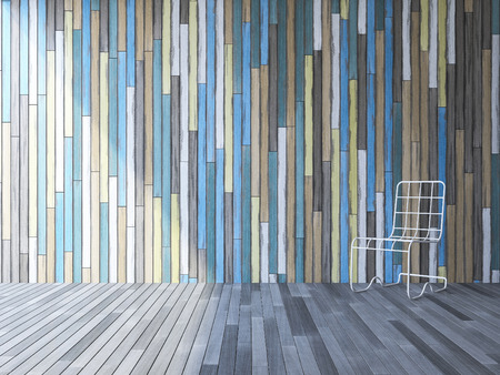 3ds: 3ds image of  white steel wires chair on old wooden floor which have colorful old wooden wall as background