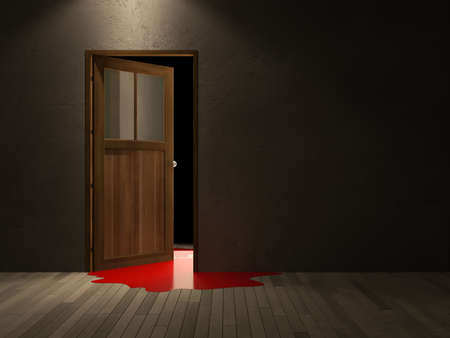 knocker: 3ds rendered image of wooden door and cracked concrete wall, blood on wooden floor,Background for halloween day Stock Photo