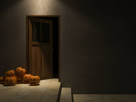 3ds: 3ds rendered image of wooden door and cracked concrete wall, pumpkin heads, Background for halloween day Stock Photo