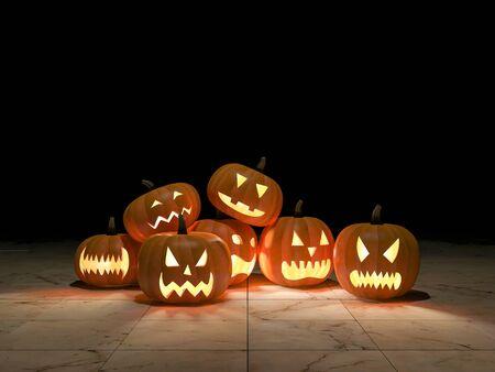 cabeza: 3Ds rindió la imagen de cabezas de calabaza, Fondo para el día de halloween Foto de archivo