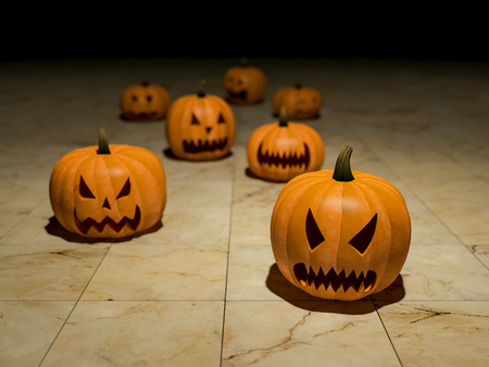 3ds: 3Ds rendered image of pumpkin heads, background for halloween day Stock Photo