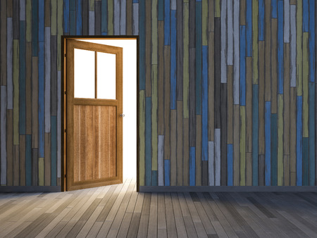 3ds: 3Ds rendered image of wooden door and old colorful wooden wall and wooden floor