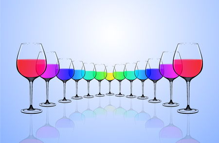 straight line: colorful water in 7 glass align to straight line , reflective shadow on floor