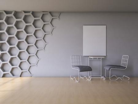 silla de madera: 3Ds prestados interior con pared hexágono y suelo de madera Foto de archivo