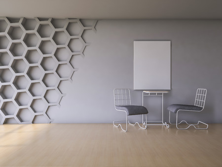 chair wooden: 3Ds rendered interior with hexagon wall and wooden floor
