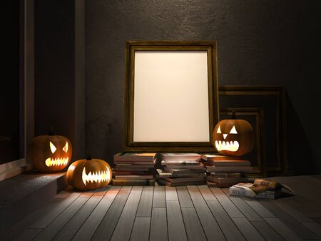 3d image: 3D rendered image of pumpkin heads and blank photo frame and books placed on old wooden floor which have crack concrete wall as background