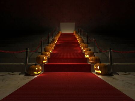 3ds: 3ds rendered image of the red carpet on marble stair which have pumpkin heads placed at the side