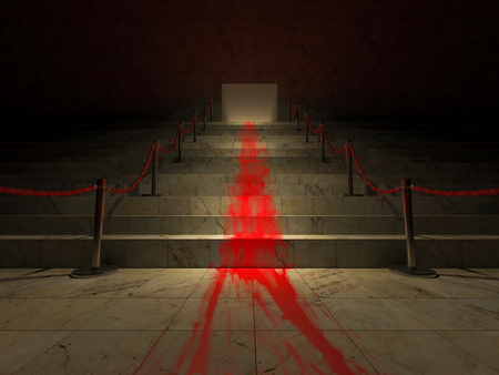 spalsh: 3ds rendered image of the blood on marble stair like the red carpet. background for halloween