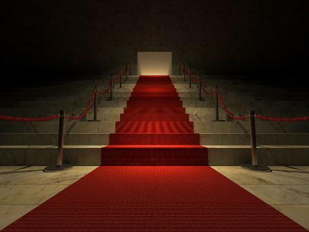 rojo: 3ds prestados imagen de la alfombra roja en la escalera de mármol Foto de archivo