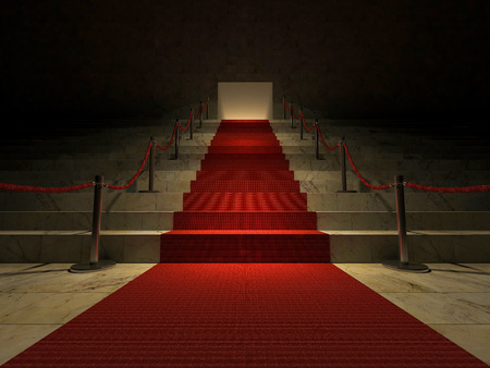 entertainment event: 3ds rendered image of the red carpet on marble stair
