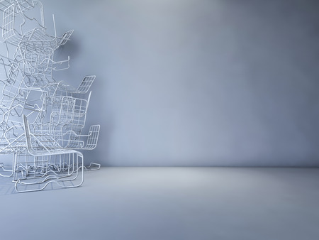 3ds: 3Ds rendered image of red and white color steel wire chair