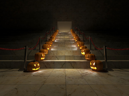 pumpkin head: 3ds rendered image of the red carpet on marble stair which have pumpkin head at the double side, background for halloween