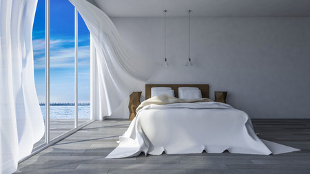beach window: 3ds rendered image of bed in seaside room which have crtacked concrete wall  in day time, White fabric curtains being blown by wind from the sea