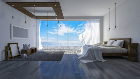 seaside resort: 3ds rendered image of seaside room in  day time, White fabric curtains being blown by wind from the sea Stock Photo