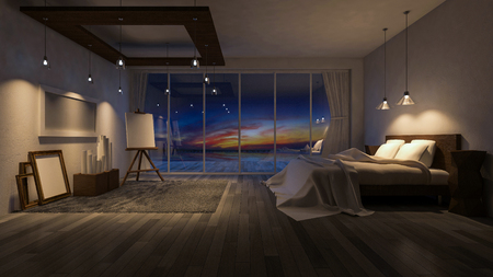 3ds: 3ds rendered image of seaside room in sunset and sunrise with twilight Stock Photo