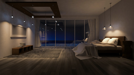 luxury living room: 3ds rendered image of seaside room in night time