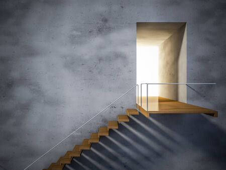 stairs interior: 3Ds rendered image of wooden stair and cracked concrete wall. shadow on the wall