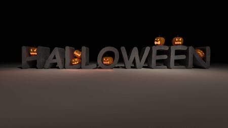 3ds: 3ds rendered image of halloween word which have a lot of pumkin heads on it, back ground for halloween
