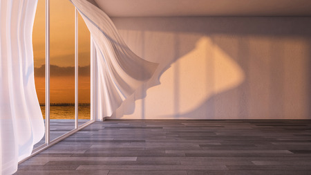 3ds rendered image of seaside room in  sunrise and sunset time, White fabric curtains being blown by wind from the sea, wooden floor and cracked concrete wall