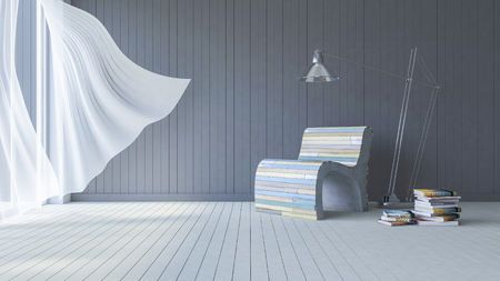 3ds rendered image of living room which have dark gray color wooden wall  and white color wooden floor and colorful old wooden sofa set, White fabric curtains being blown by wind from the sea