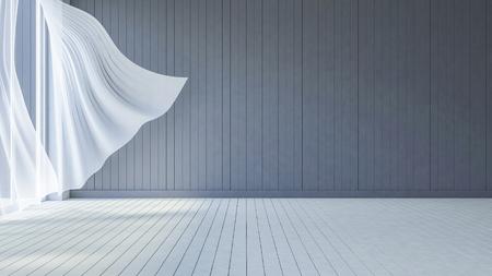 해변 룸의 3DS 렌더링 된 이미지, 화이트 패브릭 커튼은 바다, 어두운 회색 나무 벽과 흰색 나무 바닥에서 바람에 날 려 되