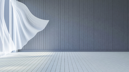 curtain: 3ds rendered image of seaside room , White fabric curtains being blown by wind from the sea, dark gray wooden wall and white wooden floor