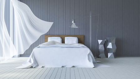 balcony design: 3ds rendered image of bed in seaside room which have dark gray wooden wall and white floor in day time, White fabric curtains being blown by wind from the sea