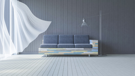 living: 3ds rendered image of living room which have dark gray wooden wall  and white wooden floor and colorful old wooden sofa set, White fabric curtains being blown by wind from the sea