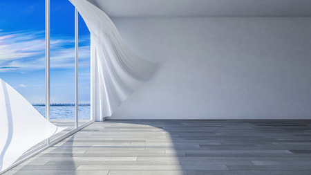 3ds rendered image of seaside room i, White fabric curtains being blown by wind from the sea, wooden floor and cracked concrete wall Stock Photo