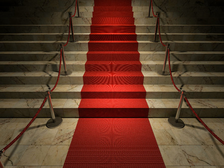 glamour: 3ds rendered image of the red carpet on marble stair