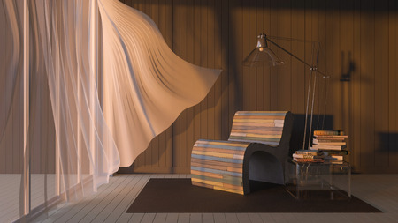 sofa: 3ds rendered image of living room which have dark gray wooden wall and white wooden floor and colorful old wooden sofa set, White fabric curtains being blown by wind from the sea in sunset or sunrise time