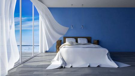 青い色のあるシーサイドの部屋でベッドの 3 ds のレンダリング画像割れてコンクリート壁一日の時間、海からの風によって吹き飛ばされて白い布の